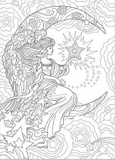 Creative Haven Beautiful Angels Coloring Book (Adult Coloring) Angel Coloring Pages, Detailed Coloring Pages, Adult Coloring Book Pages, Printable Adult Coloring Pages, Cute Coloring Pages, Coloring Pages To Print, Coloring Books, Dover Coloring Pages, Coloring Sheets