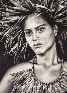 Portrait dessin d'une jeune tahitienne mélancolique L'art Du Portrait, Portraits, Nz Art, Pencil Art, Culture, Drawings, Photos, Maori, Black And White Drawing