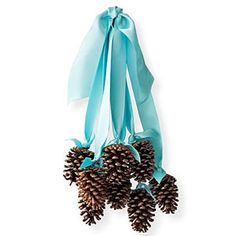Yule-Tied  option:  spray paint, paint the tips in white and dip in glitter, glue sequins on the tips, mix in with christmas balls on ribbon when forming the bouquet! Love the color blue for all winter long decoration.