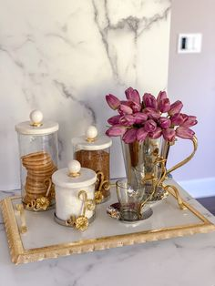 Ramadan Decorations, Table Decorations, Marble Tray, White Marble, Coffee Station Kitchen, Gold Vases, Glass Canisters, Bath Decor, Foyer