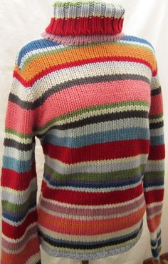 1990s Colorful Striped Chunky Knit Gap Sweater Wool Blend Turtleneck Long Sleeved Size Medium