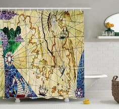 Amazon Ambesonne Compass Decor Collection Old Nautical Chart Ancient Map With Historical Bathroom Shower CurtainsBathroom
