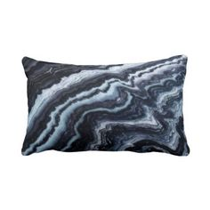 Blue & White Marble Throw Lumbar Pillow Cover by PatternBehavior