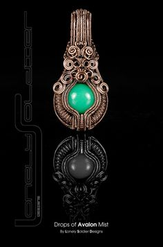 Drops of Avalon Mist - Chrysoprase and Copper Wire Wrapped Lonely Soldier Designs Pendant