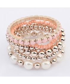 Pink & Faux Pearl Bead Multilayer Bracelet £3.50
