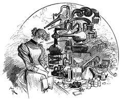 """Albert Robida, « Mlle Estelle Lacombe au laboratoire », in : """"Le vingtième siècle : la vie électrique"""", Paris, La Librairie Illustrée, 1892"""