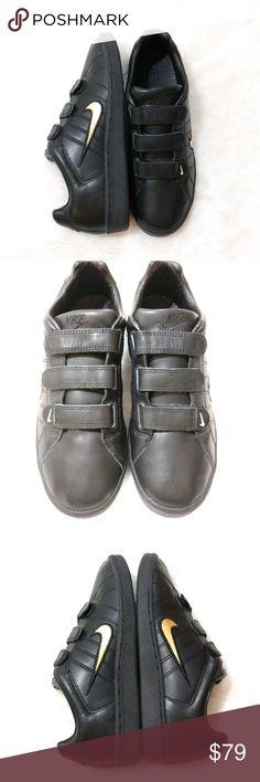 9b404744 Nike ID Custom Black/ Gold Velcro Strap Sneakers Nike ID Custom Black and  Gold Sneakers