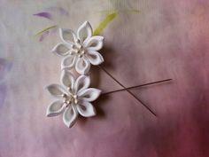 Pink White or Yellow Kanzashi Hijab Lapel Pin Set Pair