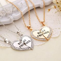 e348d2a3a179 Rhinestone Heart Best Friends Necklaces Set of 2. Collares De La  AmistadCollares De AmigosPulseras ...