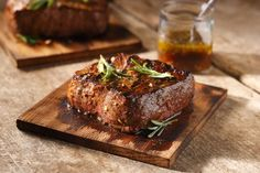 Cedar Planked New York Steak with Rosemary and Honey