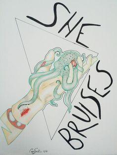 She bruises.  - corey salinas  Mixed media micron pen prisma color pencils prisma graphite illustration of pet sins octopus severed hand. art