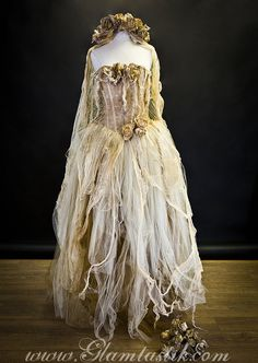 Size large ivory tea stained lace and Tulle burlesque dress Victorian Zombie Corpse Bride w head piece and bouquet costume Ready to Ship