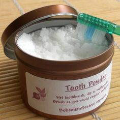 Good idea - baking soda is makes a great pore minimizer and also whitens your teeth - now if I can just put it in a pretty tin like this so the inside of our drawer isn't covered in suspicious white powder