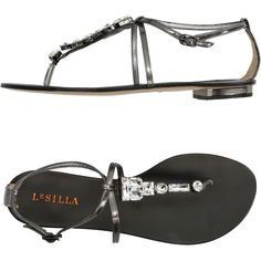 Le Silla Toe Post Sandal (425 AUD) ❤ liked on Polyvore featuring shoes, sandals, black, black flat thong sandals, black sandals, black flat sandals, ankle strap flat sandals and ankle strap thong sandals