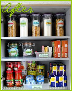 Love the pop of color in this pantry makeover. Via The {colored} Married Life: Organizing A Food Storage Cabinet Kitchen Organisation, Organization Hacks, Organizing Tips, Organising, Kitchen Pantry, Diy Kitchen, Tasty Kitchen, Kitchen Cupboards, Kitchen Tools