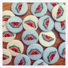 Crossstitch Fruity Watermelon Button Badge by MaMagasin on Etsy, £2.00