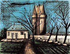 Bernard Buffet - Saint-Servan, la tour Solidor - 1985 lithograph - 58 x 76 cm Monuments, Saint Servan, Illustrator, Magritte, Museum, France, French Artists, Art History, Van Gogh