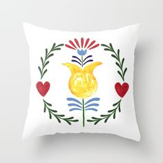 Folk Throw Pillow by Unicornlette | Society6