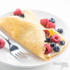 The best foolproof keto crepes recipe! These paleo, gluten-free crepes with almond flour taste just like real ones, and they will bend, roll and fold without breaking. Options for sweet or savory!