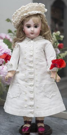 """19"""" (48 cm) very Beautiful Rare Antique French Bisque Bebe E.J. Jumeau doll, Size 8, with Original Dress and Hat"""