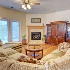 At the center of the living room is a gas log fireplace. The room fits a large sectional and entertainment center. Doors lead to the patio.  4426 Regent Drive, Wilmington, NC 28412 Want more info? Visit our website (link in profile) or give us a call at (
