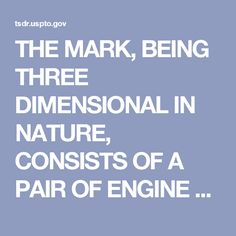 THE MARK, BEING THREE DIMENSIONAL IN NATURE, CONSISTS OF A PAIR OF ENGINE VALVES WITH THEIR FLAT FACES WELDED TOGETHER AND IS USED BY AFFIXING THE MARK TO CONTAINERS FOR THE GOODS SOMEWHAT IN THE MANNER OF A HANG-TAG OR THE LIKE