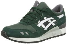 ASICS Gel-Lyte III - Zapatillas bajas, unisex, color verde (dark green/white 8001), talla 41.5