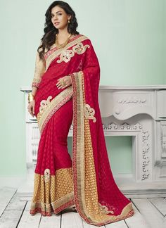 Online Shopping of Embroidered Designer Net-Jacquard Saree in Red Color from SareesBazaar, leading online ethnic clothing store offering latest collection of sarees, salwar suits, lehengas & kurtis Bollywood Designer Sarees, Indian Designer Sarees, Latest Designer Sarees, Latest Sarees, Designer Sarees Collection, Saree Collection, Bridal Sarees Online, Indian Dresses, Indian Saris