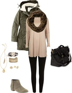 Today's outfit. Olive green parka, blush jersey tunic, leopard scarf, black jeggings, Faven booties by Dolce Vita, black leather bag, gold accessories. by emily-finch on Polyvore