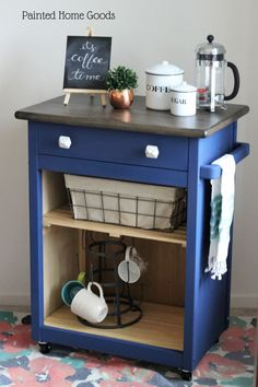 adorable mini, rolling coffee bar refinished with Country Chic Paint Midnight Sky #paintedfurniture #DIY #chalkpaint #beforeandafter