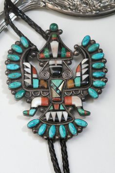 Bolo Zuni Turquoise Native American Ethnic Neckware Jewlery Knifewing