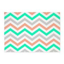 coral,green and gray chevrons pattern. 5x7'Area R