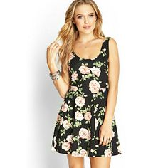 New Forever 21 Flower Print Skater Dress