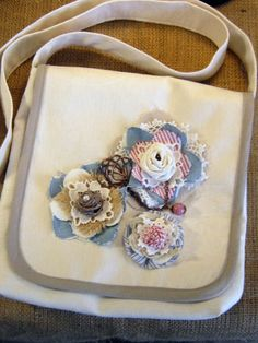 Love the fabric flowers!