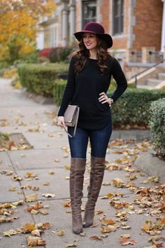 Burgundy Floppy Hat, Long Black Sweater, Taupe OTK Boots= Fall OOTD Look