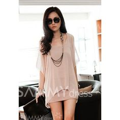 $7.94 Stylish Scoop Neck Off-The-Shoulder Chiffon Splicing Faux Twinset Dress For Women