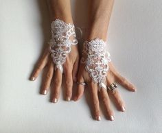 Ivory Wedding gloves bridal gloves lace gloves fingerless gloves