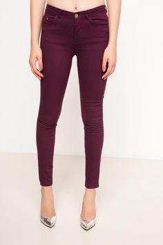 DeFacto Bordo Kadın Yüksek Bel Pantolon 1