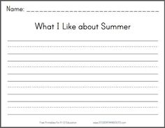 What I Like about Summer Writing Prompt