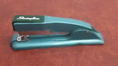 VTG SWINGLINE #27 Teal Green Stapler Art Deco Mid Century Modern Made In USA