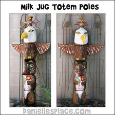 Milk Jug Totem Pole Craft from www.daniellesplace.com ©2010