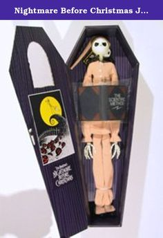 """Nightmare Before Christmas Jack Skellington Pajamas in Purple Coffin. This was A Japan Exclusive By Jun Planning. Jack is Approx 16in tall in Pyjamas with """"Scientific Method"""" Book Accessory and comes in Purple display coffin!."""