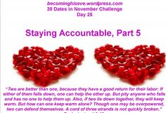 Staying Accountable, Part 5, Day 25 of the 30 Dates in November Challenge from Becoming His Eve