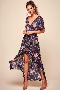 Cheri Floral Wrap Maxi Dress Navy