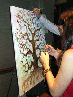 Sign in by placing a fingerprint leaf and signing...cute for fall weddings