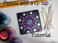 How to paint dot mandalas using only a qtip pencil full tutorial valentines day dollar tree Dot Art Painting, Mandala Painting, Stone Painting, Pattern Leaf, Art Chakra, Drawing Tutorials For Beginners, Acrylic Paint Set, Mandala Rocks, Art Plastique