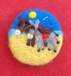 Needle Felted Brooch 'Seaside Donkeys' Handmade Gift by Ann Creasey brooch or picture design make good fathers day gift