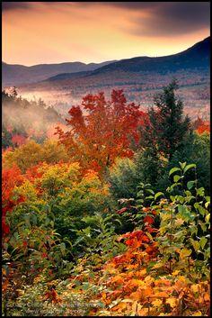 Sunrise along the Kancamagus Highway in autumn, White Mountains, New Hampshire