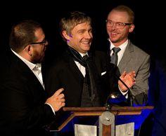 Nick Frost, <3 Martin Freeman <3, Simon Pegg. World's End premiere in Wellington