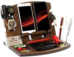 Fathers Day Presents, Presents For Him, Husband Wife, Gifts For Husband, Lg G3, Wood Phone Holder, Key Holder Wallet, Watch Organizer, Mobile Stand